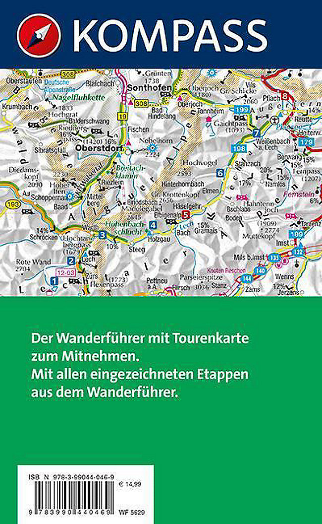 Lechweg Karte.Kompass Wanderführer Lechweg Vom Quellgebiet Bis Zum Lechfall M