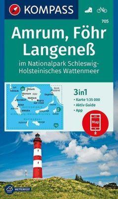 KOMPASS Wanderkarte Amrum, Föhr, Langeneß im Nationalpark Schleswig-Holsteinisches Wattenmeer