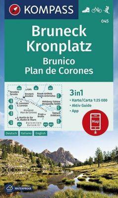 KOMPASS Wanderkarte Bruneck, Kronplatz Brunico Plan de Corones