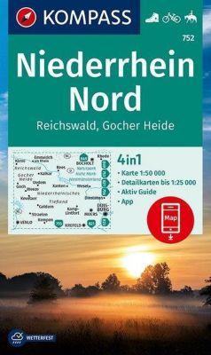 KOMPASS Wanderkarte Niederrhein Nord, Reichswald, Gocher Heide