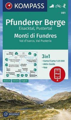 KOMPASS Wanderkarte Pfunderer Berge, Eisacktal, Pustertal, Monti di Fundres, Val d'Isarco, Val Pusteria