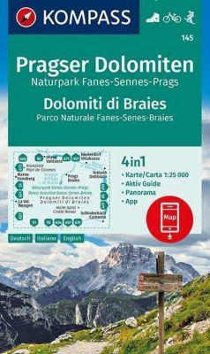 KOMPASS Wanderkarte Pragser Dolomiten, Naturpark Fanes-Sennes-Prags, Dolomiti di Braies, Parco Naturale Fanes-Senes-Brai
