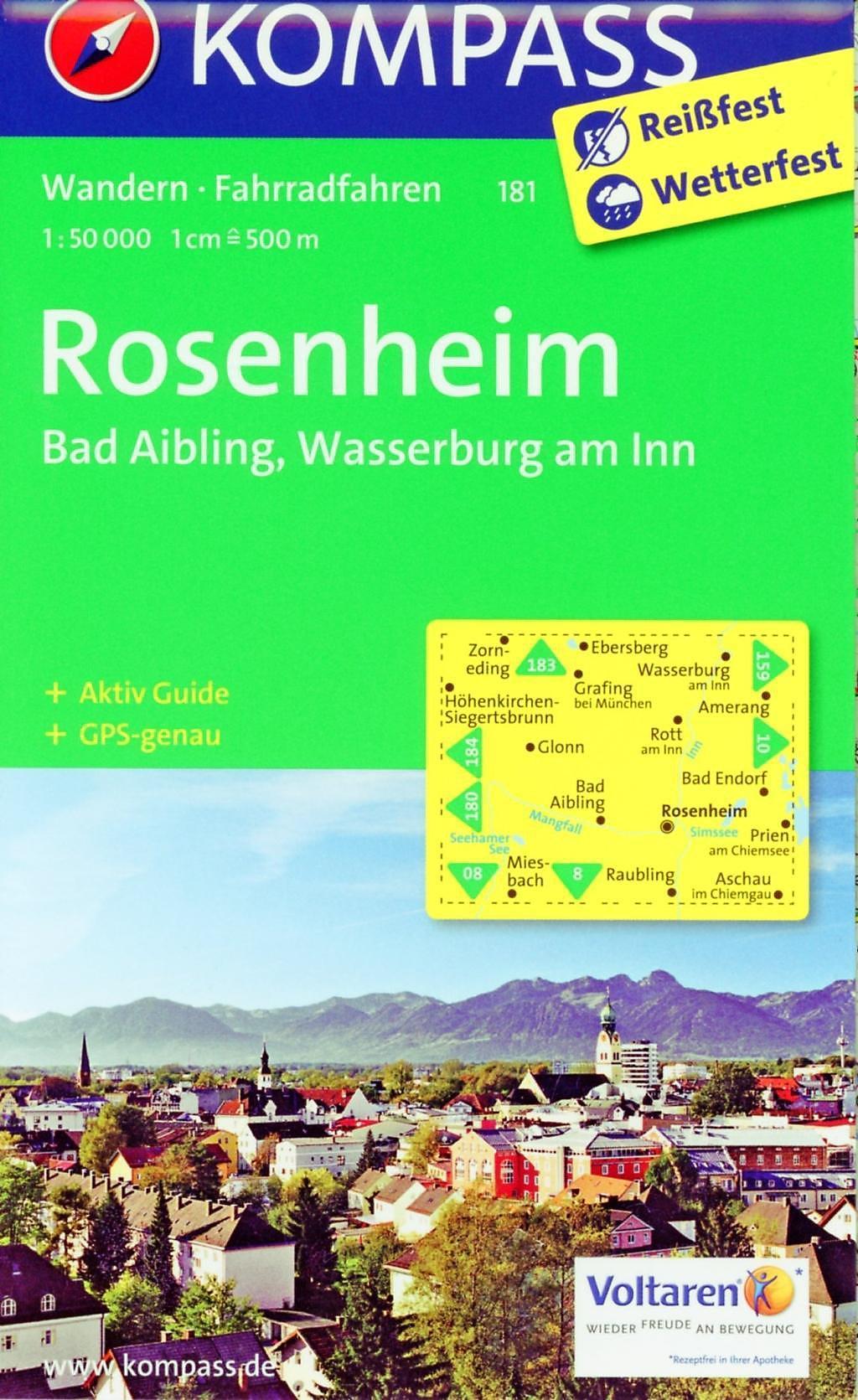 Kompass Wanderkarte Rosenheim Bad Aibling Wasserburg Am