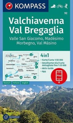 KOMPASS Wanderkarte Valchiavenna, Val Bregaglia, Valle San Giacomo, Madésimo, Morbegno, Val Másino