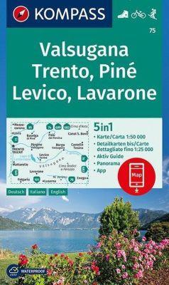 KOMPASS Wanderkarte Valsugana, Trento, Piné, Levico, Lavarone
