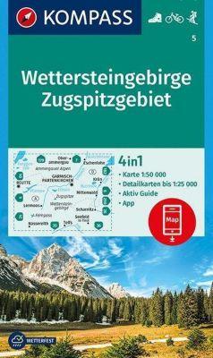 KOMPASS Wanderkarte Wettersteingebirge, Zugspitzgebiet