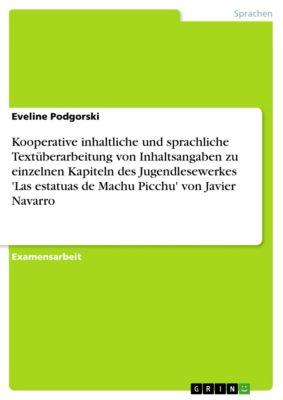 Kooperative inhaltliche und sprachliche Textüberarbeitung von Inhaltsangaben zu einzelnen Kapiteln des Jugendlesewerkes 'Las estatuas de Machu Picchu' von Javier Navarro, Eveline Podgorski