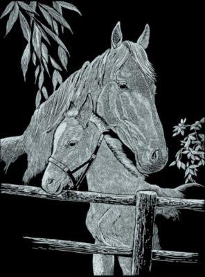 Kratzb. Silber groß - Pferd Fohlen 20x
