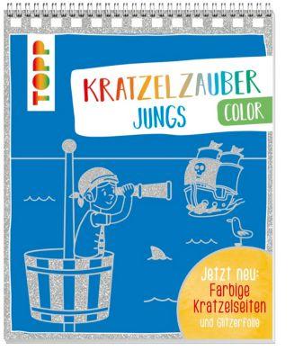 Kratzelzauber Color Jungs, m. Holzstift, frechverlag