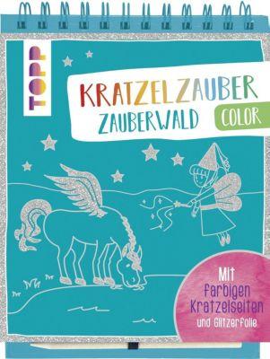 Kratzelzauber Color Zauberwald, m. Holzstift, frechverlag