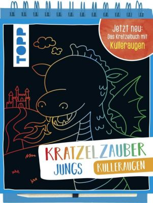 Kratzelzauber Kulleraugen für Jungs, m. Holzstift, frechverlag