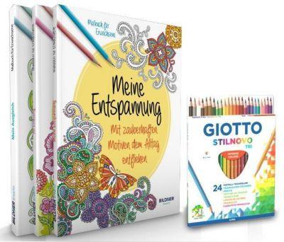 Kreativ-Set: 3 Malbücher + 24 Farbstiften