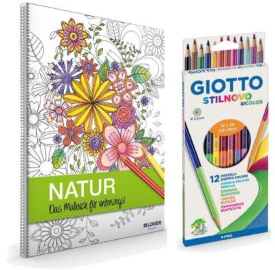 Kreativset: Malbuch Natur + 12 Farbstifte bicolor (24 Farben) -  pdf epub