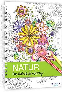 Kreativset: Malbuch Natur + 12 Farbstifte bicolor (24 Farben) - Produktdetailbild 7