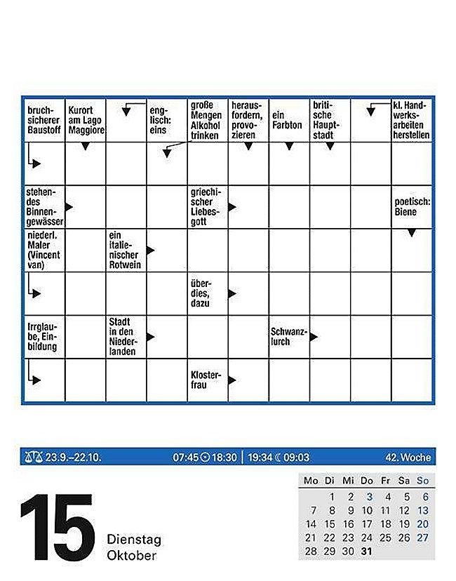 kreuzwortr tsel kalender 2019 kalender bei. Black Bedroom Furniture Sets. Home Design Ideas