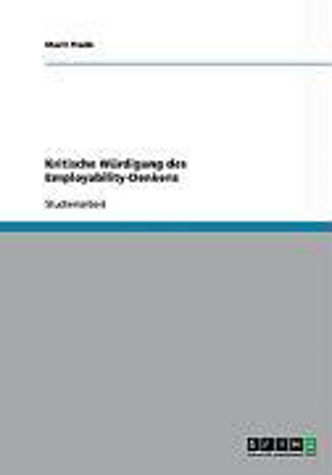 Kritische Würdigung Des Employability Denkens Buch Portofrei