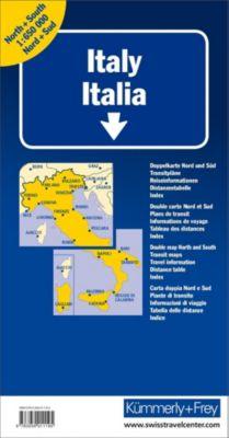 Kümmerly+Frey Karte Italien Nord + Süd Strassenkarte; Italie, Double carte; Italy, Double map; Italia, Carta doppia