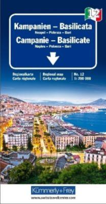 Kümmerly+Frey Karte Kampanien - Basilicata / Campanie, Basilicate / Campania, Basilicata Regionalkarte