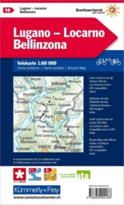 Kümmerly+Frey Karte Lugano - Locarno - Bellinzona mit Ortsindex Velokarte