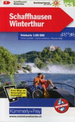 Kümmerly+Frey Karte Radwanderkarte Schweiz Schaffhausen, Winterthur Velokarte