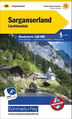Kümmerly+Frey Karte Sarganserland, Liechtenstein Wanderkarte