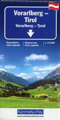 Kümmerly+Frey Karte Vorarlberg, Tirol / Vorarlberg, Tyrol / Vorarlberg, Tirolo Regionalkarte