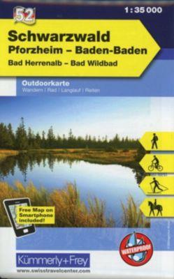 Kümmerly+Frey Outdoorkarte Schwarzwald, Pforzheim, Baden-Baden, Bad Herrenalb, Bad Wildbad