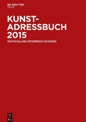Kunstadressbuch Deutschland, Österreich, Schweiz 2015