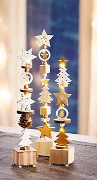 """LED-Dekosäulen """"Weiße Weihnacht"""", 3er-Set - Produktdetailbild 1"""