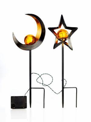 LED-Gartenstecker Stella + Luna, 2er-Set
