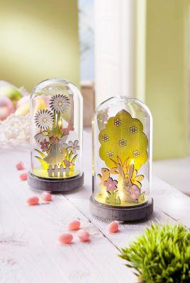 LED-Glaskuppel Frühling, 2er-Set