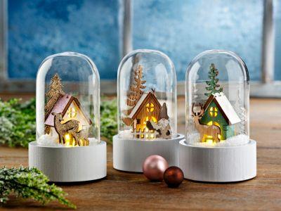 LED-Glaskuppeln Winterwald, 3er-Set