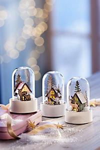 """LED-Glaskuppeln """"Winterwald"""", 3er-Set - Produktdetailbild 1"""