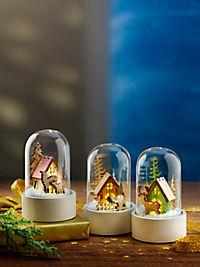 """LED-Glaskuppeln """"Winterwald"""", 3er-Set - Produktdetailbild 2"""
