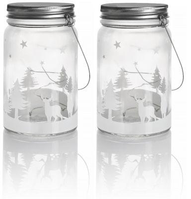 LED-Glasleuchten Weihnachten, 2er-Sparset