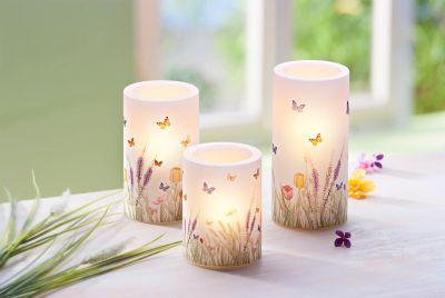 LED-Kerzen Blumenwiese, 3er-Set