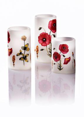 LED-Kerzen Mohnblumen, 3er-Set