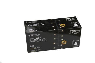 LED-Lichterkette, Outdoor & Indoor mit 750 Lichtern in warm/weiss, 16 Meter lang, 1 Stück