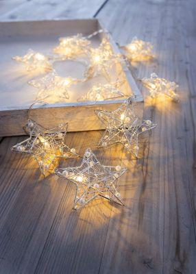 LED-Lichterkette Sterne mit Perlen