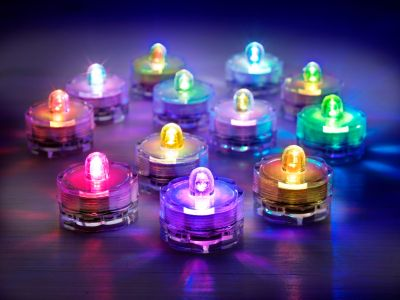 LED-Teelichter Colori, wasserdicht, 12er-Set