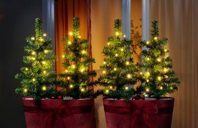 LED-Weihnachtsbäumchen, 4er-Set