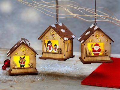 LED-Weihnachtshäuschen, 3er-Set