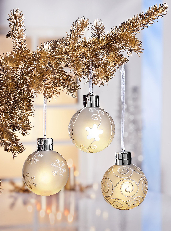 Beleuchtete Weihnachtskugeln.Led Weihnachtskugeln Deluxe 3er Set Bestellen Weltbild De