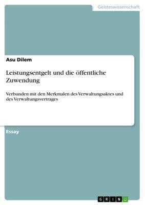 Leistungsentgelt und die öffentliche Zuwendung, Asu Dilem