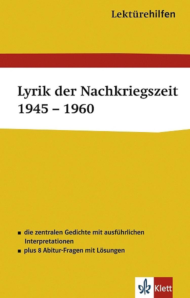 Lektürehilfen Lyrik Der Nachkriegszeit 1945 1960 Buch