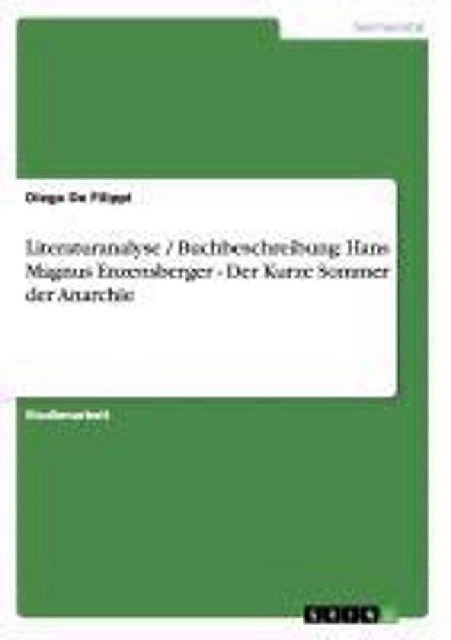 Literaturanalyse Buchbeschreibung Hans Magnus Enzensberger Der