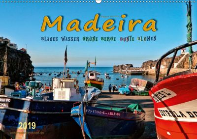Madeira - blaues Wasser, grüne Berge, bunte Blumen (Wandkalender 2019 DIN A2 quer), Peter Roder