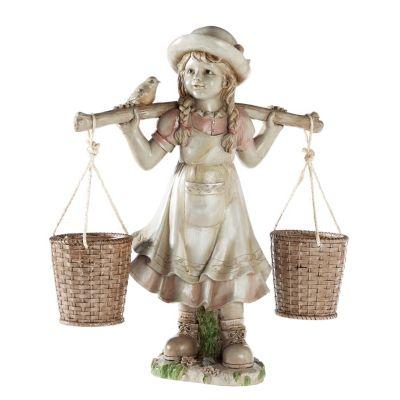 Mädchen-Figur mit Blumentöpfen