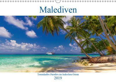 Malediven - Traumhaftes Paradies im Indischen Ozean (Wandkalender 2019 DIN A3 quer), Elly Heuvers