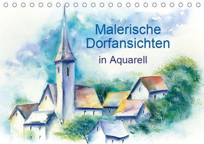 Malerische Dorfansichten in Aquarell (Tischkalender 2019 DIN A5 quer), Jitka Krause